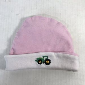 John Deere Cotton Baby Hat Pink Embroidered